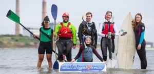 Tuesday 16th June 2015, Dublin:As an average of 11 people drown in Ireland every month, an appeal as part of Water Safety Awareness Week to promote learning from registered training providers BEFORE engaging in aquatic pursuits.  Various national bodies have combined forces to provide course details from a single website - www.safetyzone.ie - as the best way to enjoy Irish waters safely.Pictured at the launch on Sandymount Strand (l/r):  Pia Dolan (Rowing); Benny Cullen (Canoeing); Chris Ross-Innes (Scuba Diving); Kate Fitzpatrick (Snorkler); Joan Sheffield (Sailing); and Aideen Hillery (Surfing).Photograph: David Branigan/Oceansport
